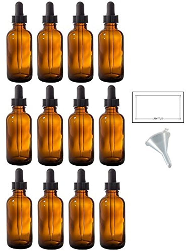 追加するバインド引き出し2 oz Amber Glass Boston Round Dropper Bottle (12 pack) + Funnel and Labels for essential oils, aromatherapy, e-liquid...