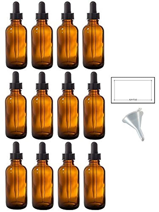理想的その後ケーブルカー2 oz Amber Glass Boston Round Dropper Bottle (12 pack) + Funnel and Labels for essential oils, aromatherapy, e-liquid...