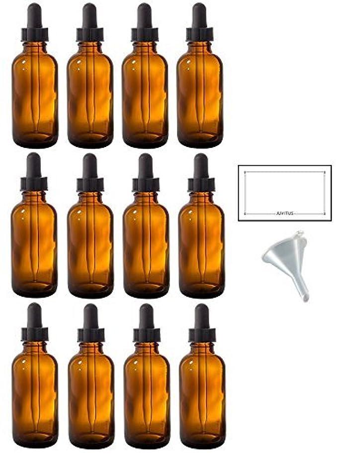 耳いたずら殺人2 oz Amber Glass Boston Round Dropper Bottle (12 pack) + Funnel and Labels for essential oils, aromatherapy, e-liquid, food grade, bpa free [並行輸入品]