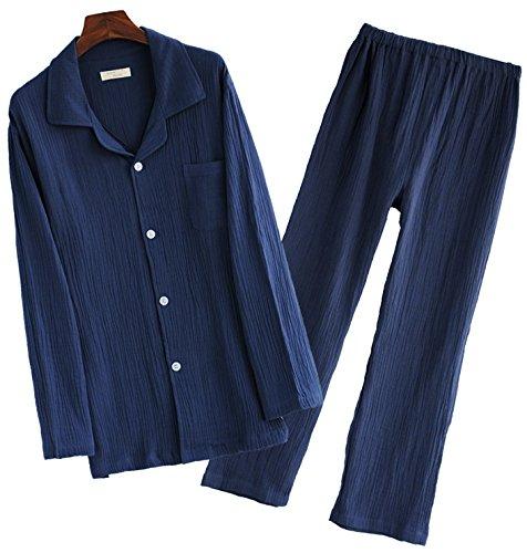 CMG (コモグッド) パジャマ メンズ 長袖 綿100 二重 ガーゼ 上下 セット M ネイビー PJ030