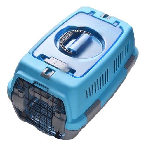 [AMANGU] ペットキャリー ダブルドア キャンピング エアトラベル ペットバッグ ブラック ブルー  猫用・小型犬用