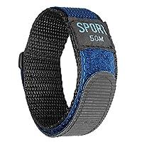 IVAPPON[アイーヴァポン] 時計ベルト マジックテープ カジュアル アウトドア スポーツ ナイロン ストラップ 腕時計用(18mm、ネイビーナイロン/プラスチック尾錠)