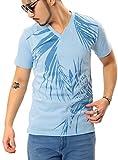 JIGGYS SHOP プリント Tシャツ メンズ 半袖 Vネック クルーネック ロゴ 20柄 大きいサイズ 春 夏 サーフ系 M yサックス
