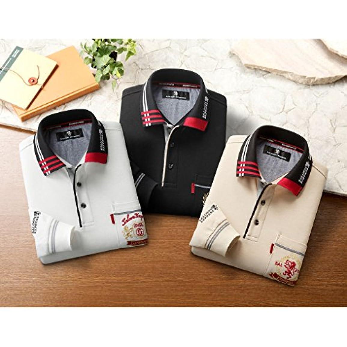 販売員好奇心悪意(サルーンエクスプレス)SALOON EXPRESS 刺しゅう入り お洒落 長袖ポロシャツ 3色組 AS-0006