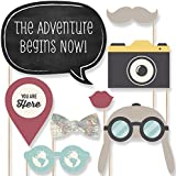 World Awaits - Travel Themed Party Photo Booth Props Kit - 20 Count