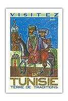 訪問チュニジア - 伝統の国 - ビンテージな世界旅行のポスター によって作成された ハテム・エル・メッキ c.1954 - プレミアム290gsmジークレーアートプリント - 61cm x 91cm