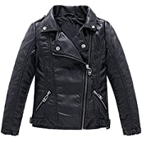 Meeyou Children's Motorcycle Leather Jacket, Faux Leather Coat for Boys