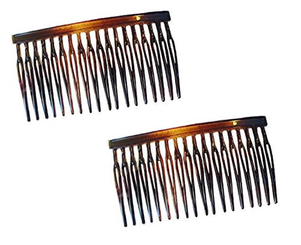 Parcelona French Light 2 Pieces Small Glossy Celluloid Shell Good Grip Updo 18 Teeth Side Hair Comb Combs [並行輸入品]
