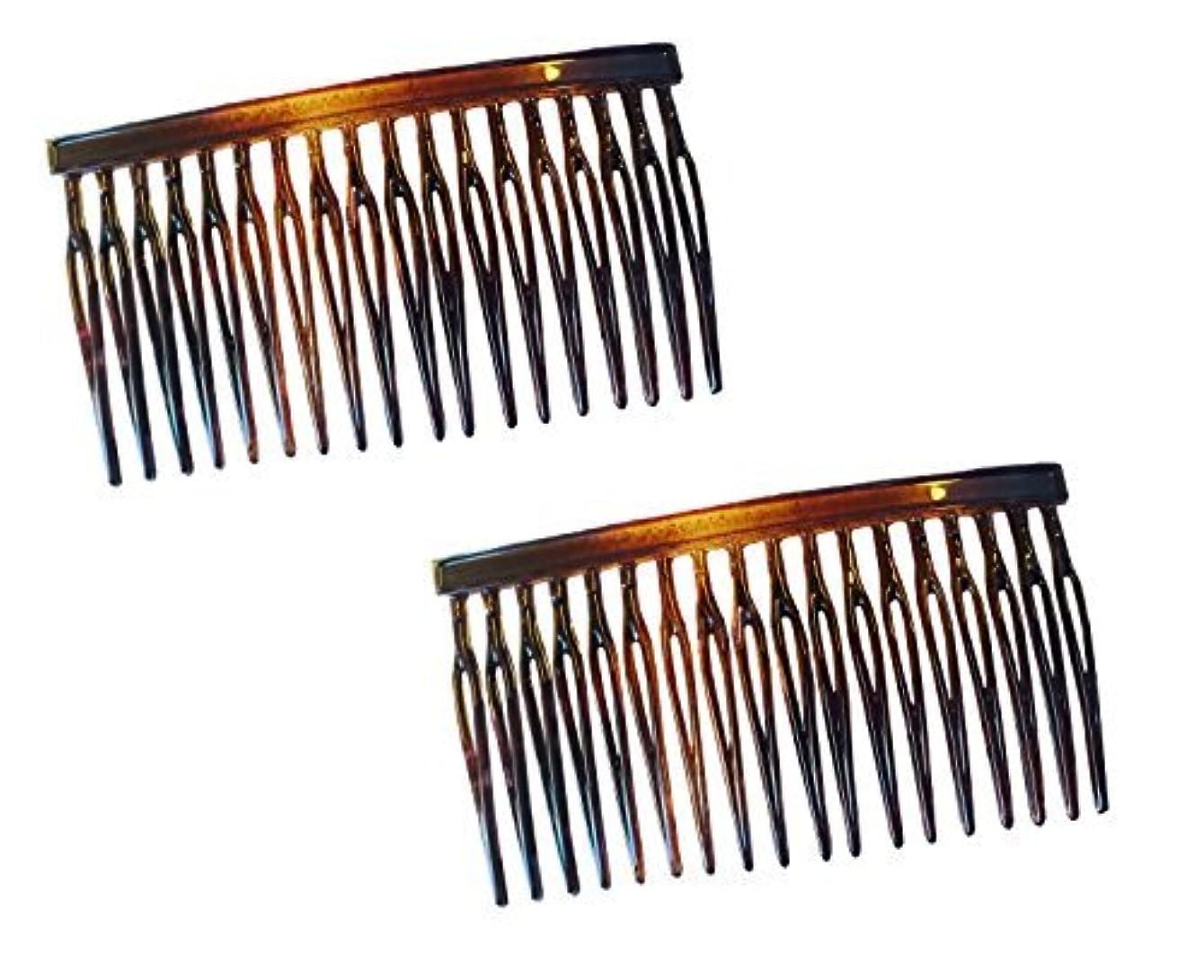 現実的インレイバーストParcelona French Light 2 Pieces Small Glossy Celluloid Shell Good Grip Updo 18 Teeth Side Hair Comb Combs [並行輸入品]