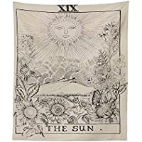 Tarot Tapestry Moon Star Sun,Aolvo Astrology Tapestry Tarot Card Tapestry Medieval Europe Psychedelic Mysterious Tapestries Divination Tapestry Wall Hanging Blanket Home Decor(The Sun)