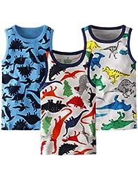 Blacking ボーイズタンクトップボーイズTシャツ少年恐竜ベスト半袖男の子 女の子 子供用 綿100% 敏感肌のお子様に 幼稚園 小学生 3枚組 90~130cm