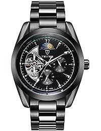 TEVISE ビジネス 腕時計 メンズ アナログ ステンレス ベルト ケース 24時間 自動巻き ウォッチ (ブラック)