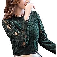 SakuraBest Womens Office Lace Striped Floral Long Sleeve Slim Work Shirt Autumn Top Blouse