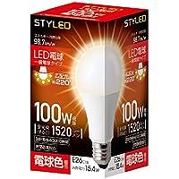 スタイルド LED電球 口金直径26mm 電球100W形相当 電球色 15.4W 一般電球・広配光タイプ 密閉器具対応 HA15T26L1