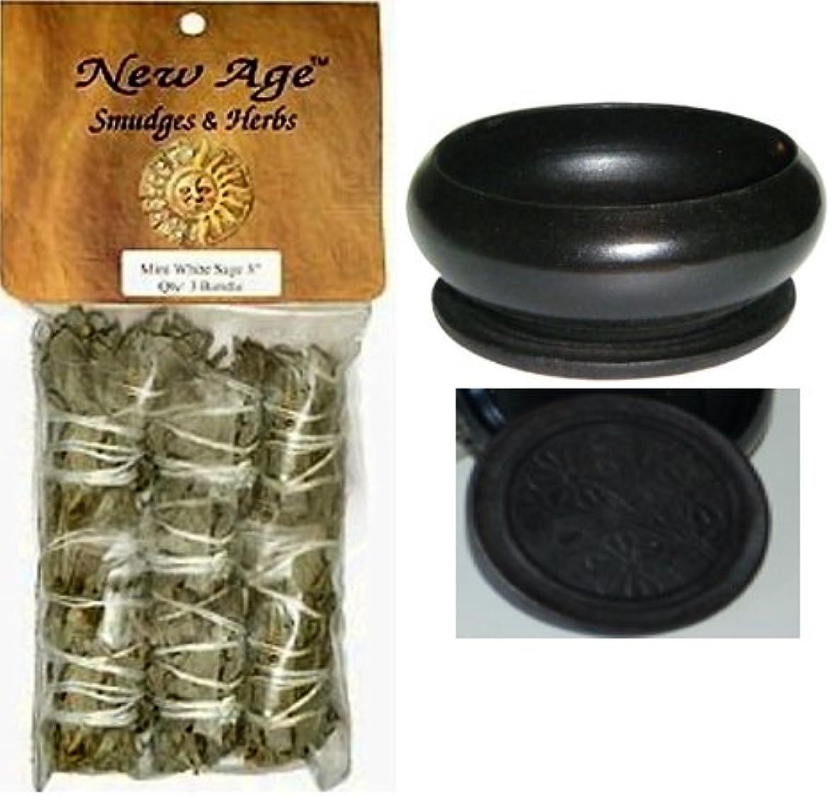 熟達かける卒業【並行輸入品】New Age 3 Pack Smudge Cedar Sage White Sage and Blue Sage Set with 'Uplifiting Therapies' Black Smudge...