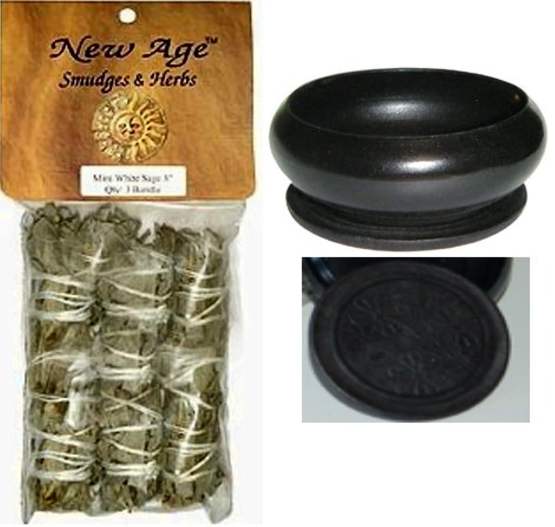 【並行輸入品】New Age 3 Pack Smudge Cedar Sage White Sage and Blue Sage Set with 'Uplifiting Therapies' Black Smudge...