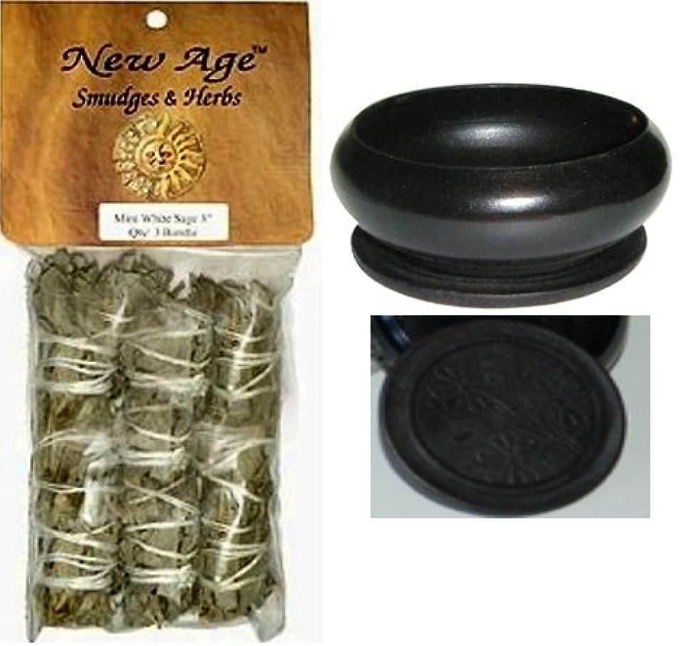 上がる枯れる目指す【並行輸入品】New Age 3 Pack Smudge Cedar Sage White Sage and Blue Sage Set with 'Uplifiting Therapies' Black Smudge...
