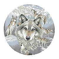FLAMEER クロスステッチキット 刺繍キット 図案印刷 オオカミ柄 刺繍工具付き 全2種 - 11CT 48 x 48cm