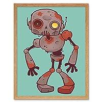 Nursery Robot Monster Rusty Machine Man Kids Bedroom Art Print Framed Poster Wall Decor 12X16 Inch 保育園モンスター子供たちベッドルームポスター壁デコ