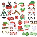 BESTOYARD 32本のクリスマスフォトブースの小道具パーティー写真の写真アクセサリーDIYキット