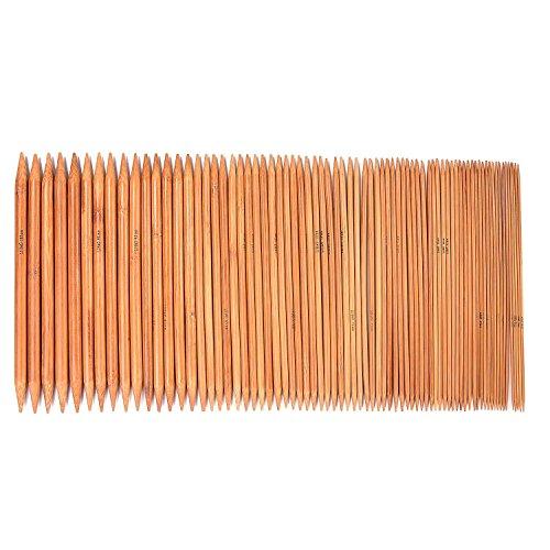 LIHAO 手あみ針 くつした針 短5本針 棒針 竹製 長さ20cm 75本 15サイズ 2.0㎜から10.㎜まで