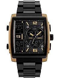 屋外のビジネスのための男性のためのトレンディな現代のゴールドケースクォーツ時計は、ユニークな文字盤の正方形のクールなデジタル時計