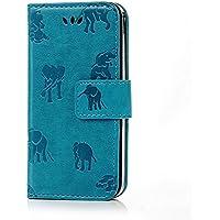 Mavis's Diary iPhoneSE/5S/5 ケース レザー素材 手帳型 横置き 耐久性 ストラップ付き 保護ケース 吸着の機能 スタンド機能 アイフォンSE/5S/5 携帯カバー ブルー+象
