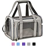 Henkelion Large Cat Carriers Dog Carrier Pet Carrier for Large Cats Dogs Puppies up to 25Lbs, Airline Approved Big Dog Carrier Soft Sided, Collapsible Waterproof Travel Puppy Carrier - Large - Grey