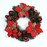 Burning Go クリスマス飾り 花輪 北欧風 造花 玄関 ドア飾り クリスマス置物 クリスマスツリー装飾 暖かい雰囲気