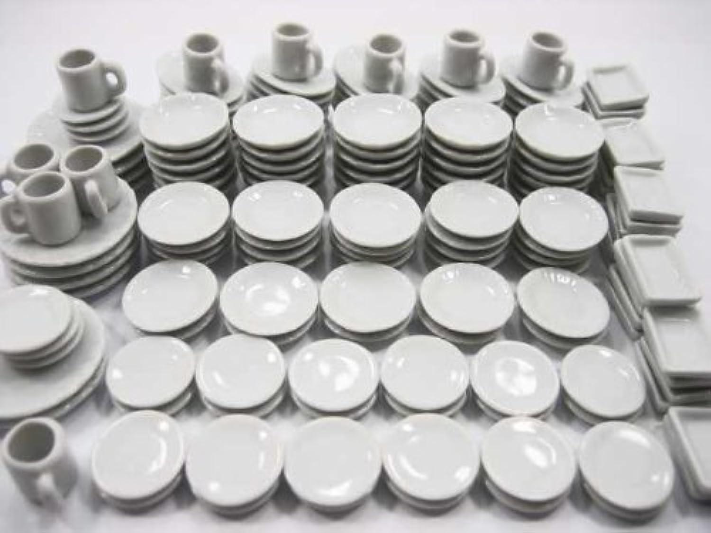 人形Houseミニチュアキッチンセラミック170ホワイトミックスディッシュプレートコーヒーカップ – 3563
