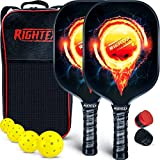 Rightex Pickleball Paddle Set – 2 Premium Lightweight Graphite Honeycomb Composite Core Rackets – Ultra Cushion Grip - Paddle Carry Case - 4x40 Hole USAPA Balls