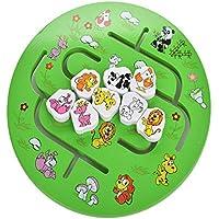 Techecho アニメ動物迷路ムーブメント 自宅用おもちゃ 丸い迷路 木製教育玩具 子供 男の子 女の子 木製教育玩具
