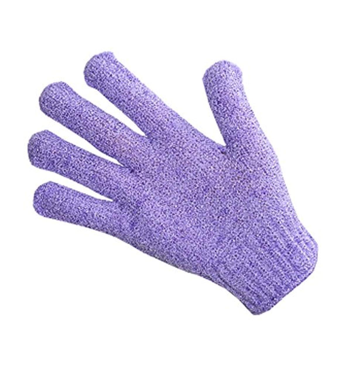 蓮接続されたうなる指、バスタオルエクスフォリエイティングラビングタオルボディバック-1ペア、紫