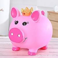 HuaQingPiJu-JP クリエイティブ漫画大規模なアンチドロップピギーバンクビニールクラウン豚のピギーバンク(ピンク)