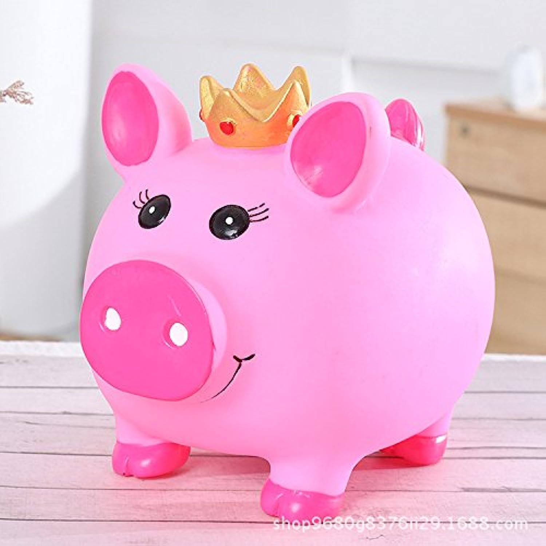 マネー バンク クリエイティブ漫画大規模なアンチドロップピギーバンクビニールクラウン豚のピギーバンク(ピンク)
