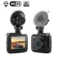 """ダッシュカム車DVRダッシュボードカメラレコーダーwith 4K FHD、内蔵WiFi & GPS、Appのサポート、Gセンサー、2.4"""" LCD、広角レンズ、モーション検出、ループ録画、駐車場モニタetc"""