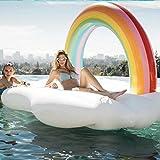 MobileFDL 巨大浮き輪 虹 レインボー フロート 快速エアバルブ 夏の日 プールパーティーおもちゃ 大人用浮き輪 子供用浮き輪 プールおもちゃ 海フロート 飾りおもちゃ 220cm