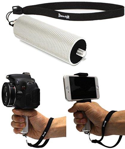 カメラ ハンドグリップ 一脚 手振れ 軽減 ハンディ モノポッド 一眼レフ ミラーレス コンパクト デジタルカメラ(デジカメ)・ ビデオ カメラ 1/4インチ 雲台 カメラハンドル MHG Type (シルバー)
