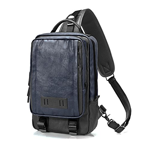 Bago ボディバッグ メンズ 大容量 ショルダーバッグ 2WAY 斜めがけ 肩掛け レザー iPad収納 A4サイズ ビジネス ネイビー 人気 防水