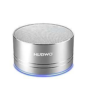 ブルートゥーススピーカー、Nubwo ワイヤレス ポータブル Bluetooth Speaker ミニスピーカー、5時間再生、ハンズフリーコール可能 高音質 3Wドライバー、AUXライン、TFカードスロット付き マイク内蔵 iPhone、iPod、iPad、Samsung、Sony、LGなど(シルバー)