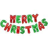 Skyllc カラフルなクリスマスの装飾16インチのメリークリスマスの文字のバルーンバナーのアルミバルーンのパーティーの装飾品