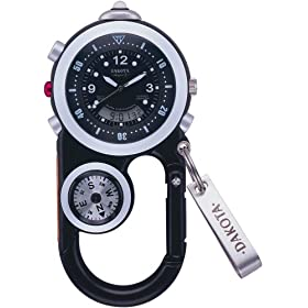 DAKOTA (ダコタ) カラビナウォッチ AnglerII DWC-4001BK 方位計 温度計 LEDライトつき
