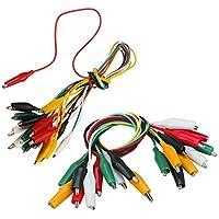 Wolfride ワニ口クリップテストリード ジャンパーワイヤー 電線クランプ ワイヤーコード 5色 20組セット