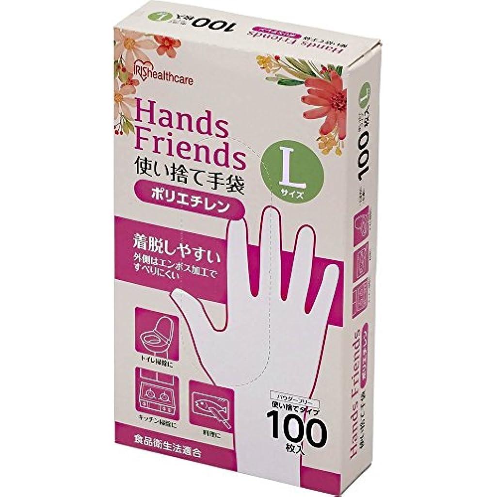 指導する死の顎漏斗使い捨て手袋 ポリエチレン手袋 Lサイズ 粉なし パウダーフリー クリア 100枚入
