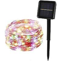 ieGeek LEDイルミネーションライト ソーラー充電式 光センサー内蔵 発光モードは8パターン 屋外用 防水IP64 フェアリーライト ガーデンライト高輝度 高品質 祝日やクリスマスや結婚式やパーティーやイベントなどに最適! (100球, カラー)