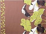 ハワイ直輸入の生地(ハワイアンファブリック)/茶地に抹茶色、ベージュ、黒のタロイモが描かれている裾ボーダー柄