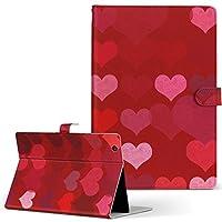 igcase MediaPad T2 10.0 Pro Huawei ファーウェイ SIM MediaPad メディアパッド タブレット 手帳型 タブレットケース タブレットカバー カバー レザー ケース 手帳タイプ フリップ ダイアリー 二つ折り 直接貼り付けタイプ 005406 ラグジュアリー ハート 赤 模様