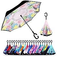 逆傘、二層逆傘車と屋外使用のby monstleo、防風UV保護Big Straight傘C型ハンドルとキャリーバッグ