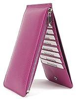 anvesinoレディース本革RFIDブロック財布カードオーガナイザーwith Zipポケット US サイズ: M カラー: パープル