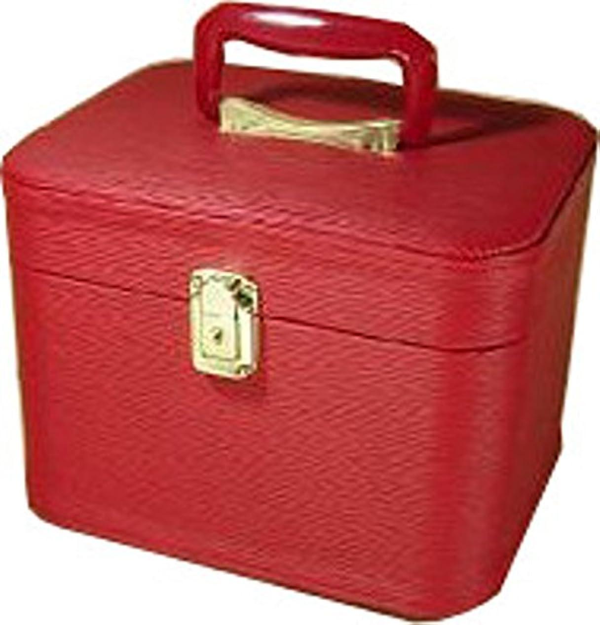克服する粘性の無法者水シボ26cmヨコレッドお化粧入れ メイクボックス,メイクケース,トレンチケース,化粧箱